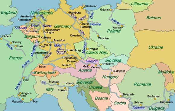 Danube River Map Of Europe.European River Cruising