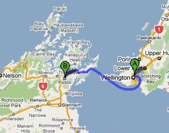 Ferry New Zealand North South Island Map