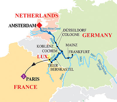 Holland And Germany River Cruise March - Germany map trier